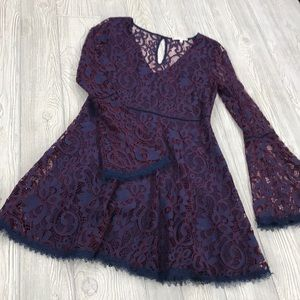 NWT Willow and Clay Purple Lace Dress - sz M